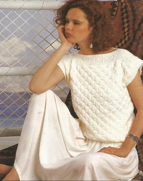 Cuello recto de punto suéter de manga corta mujer /OhhhMama/   Etsy