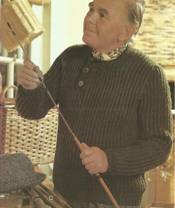 Stricken Mens zugeknöpft gerippter Pullover mit Rundhals | Etsy
