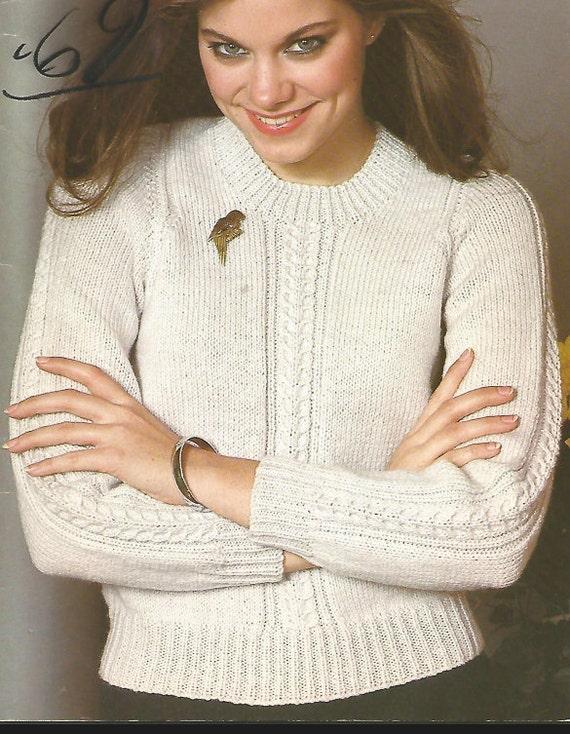 Womans Pullover stricken Rundkragen lange Ärmel Kabel | Etsy