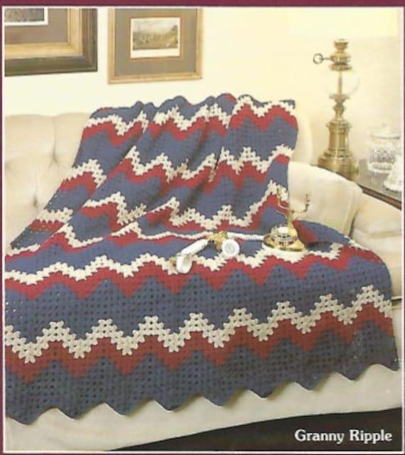 Crochet Granny Ripple Afghan Throw Blanket Bed Cover Lap Etsy