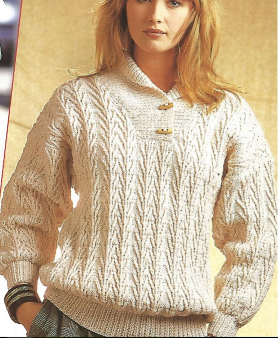Womans Aran Casual Knit Pull Over Sweater /OhhhMama/ jumper | Etsy