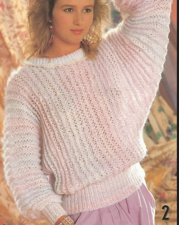 Knit Womans Sweater Easy Knit Pattern Ohhhmama Round Neck Etsy