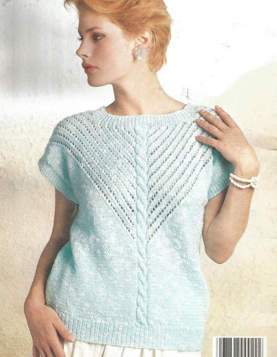 Knit Womans Slash Neck Sweater  long sleeves tunic jumper OhhhMama vintage pattern instant download pdf