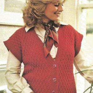 Knit Womans Aran Vest SweaterOhhhMama Buttoned Front Sleeveless V-Neck jumper tunic vintage pattern instant download pdf