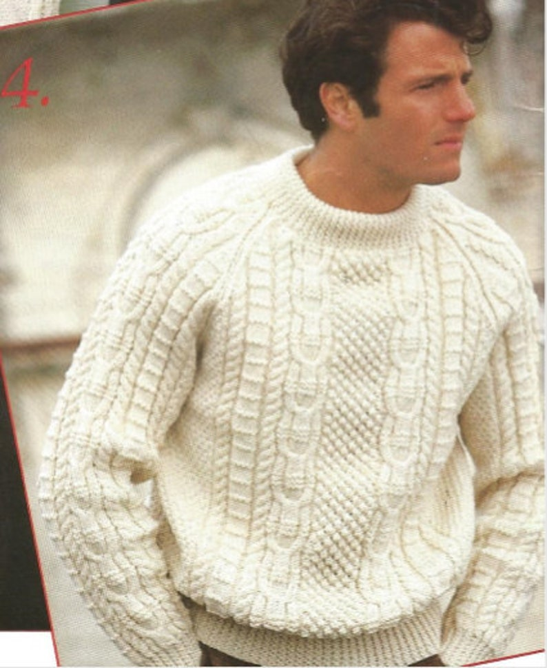 Mens Knit Aran Sweater Pullover With Long Sleeves Etsy