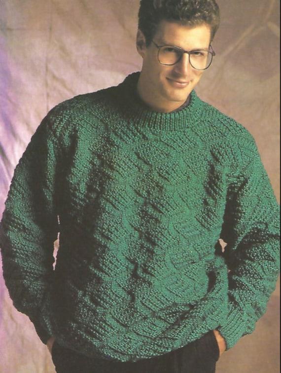 Herren Pullover Rundhalsausschnitt leicht stricken stricken | Etsy