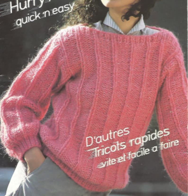 Womans Easy Knit Pullover Sweater English Only OhhhMama vintage pattern instant download pdf