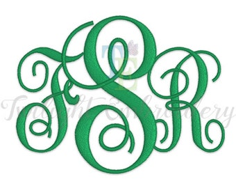 Machine Embroidery Vine Monogram Font In 6 Sizes, 0010