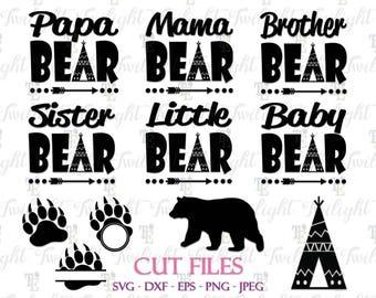 Papa Bear SVG Cut Files Mama Bear SVG Cut Files Brother Bear Svg Cut File Sister Bear Svg Cut File Baby Bear Svg Cut File Instant Download