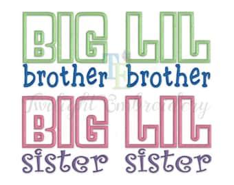 Set of 4 Big Brother Applique Little Brother Applique Embroidery Design, Big Sister Applique Little Sister Applique Embroidery Design 0032