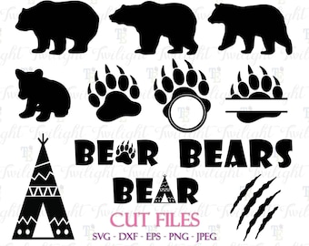Bear Cut Files Bear Claw Cut Files Bear Paw Cut Files Bear SVG Cut Files, Bear DXF Cut Files Bear Eps/Png/Jpeg Files Instant Download