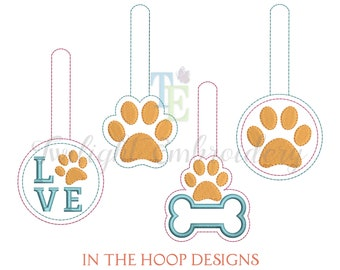 Set of 4 Paw Print Key Fob Embroidery Designs, In The Hoop Key Fob Machine Embroidery Design, Dog Key Fob Embroidery Design Instant Download