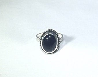 Sterling silver, black obsidian ring