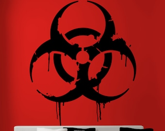 Dripping Biohazard Sign Wall Decal Radioactive Cosplay Toxic Military Hazardous Nuclear Zombie Gothic Steampunk Wall Decal by Blazing Vault