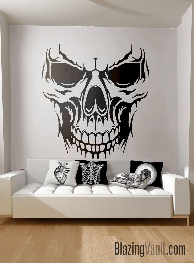 Skull wall decal skeleton bones biker biohazard radioactive etsy