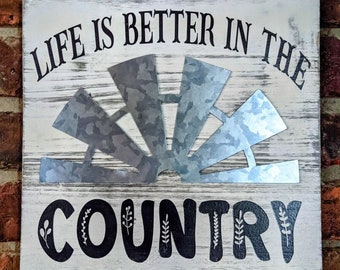 """Life Is Better In The Country Wood Wall Hanging, 10"""" Square Wood Wall Sign, Country Wall Decor, Wood Wall Decor, Farmhouse Wall Decor"""