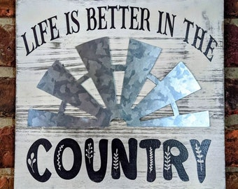"""READY TO SHIP Life Is Better In The Country Wood Wall Hanging, 10"""" Square Wood Wall Sign, Wood Wall Decor, Farmhouse Wall Decor"""