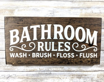 Bathroom Rules Sign Etsy