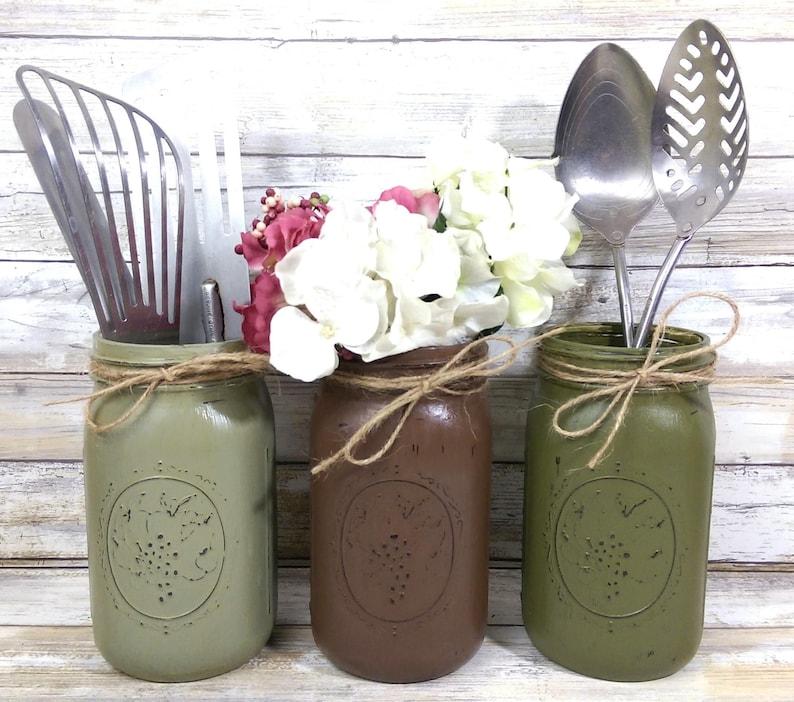 2 Fall Farm Painted Mason Jar Utensil Holders Rustic Decor Farm Decor Wedding