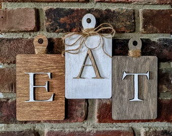 Rustic EAT Wall Decor - Cutting Board Shaped EAT Wall Hanging, Farmhouse Eat Sign, Laser Cut Multiple Sizes Available
