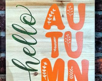 "Hello Autumn Wood Wall Hanging, 10"" Square Wood Wall Sign, Hello Fall, Fall Themed Wall Decor, Wood Wall Decor, Farmhouse Wall Decor"