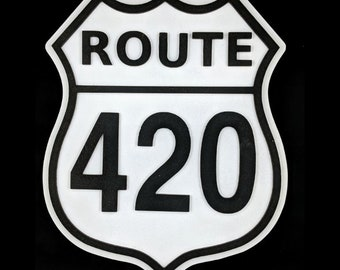Route 420 Highway Sign, Route 420 Wall Decor, Weed Wall Decor, Man Cave Wall Decor