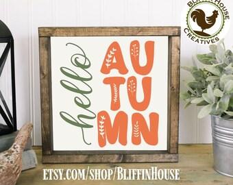 Hello Autumn Framed Wall Decor, Choose Size & Stain Color, Hello Fall, Fall Season Decor, Autumn Decor, Farmhouse Decor, Rustic Decor,