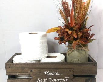 Rustic Handmade Wood Bathroom Caddy Toilet Tissue Box Holder Toilet Paper Crate Bathroom Humor Farmhouse Rustic Decor 15 Colors Available