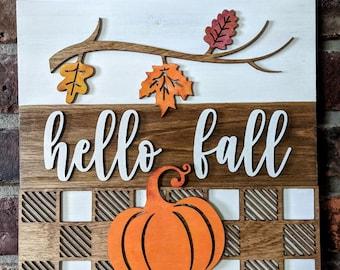 "Hello Fall Layered Wood Wall Hanging, 10"" Square Wood Wall Sign, Hello Autumn, Fall Themed Wall Decor, Wood Wall Decor, Farmhouse Wall Decor"