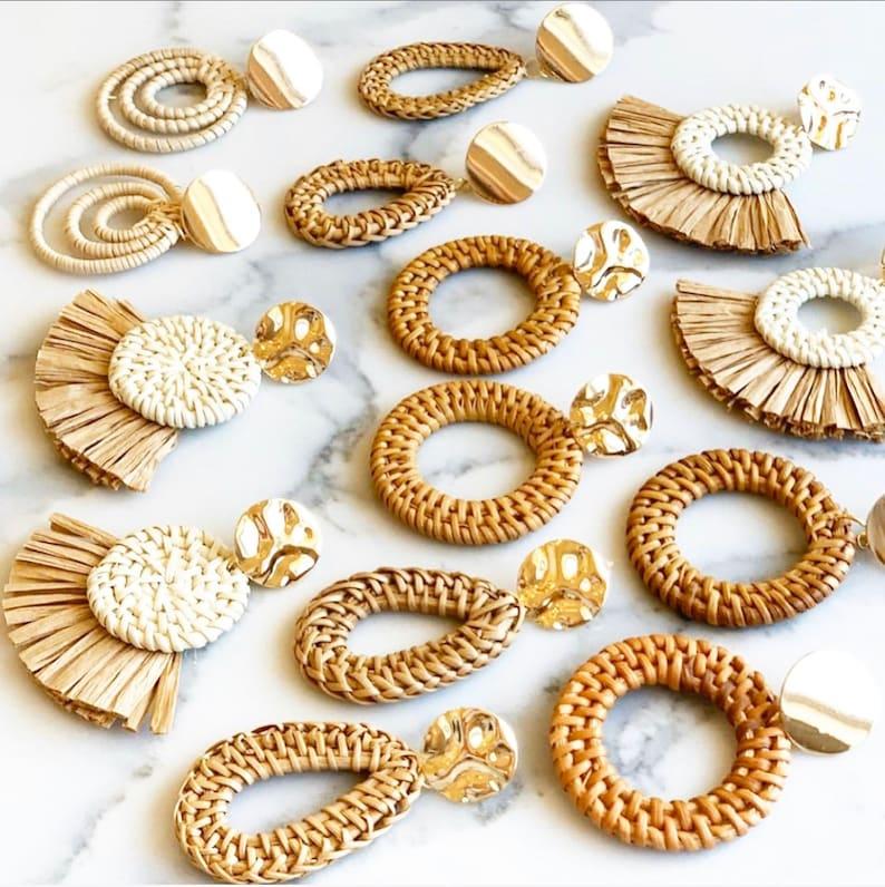 Rattan Earrings Statement Earrings Straw Earrings Wooden Earrings Summer Earrings Wood Earrings
