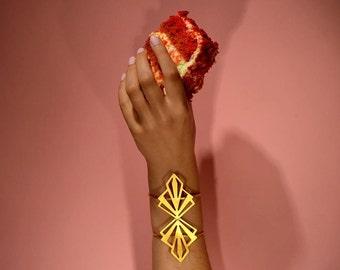 """Gold bracelet, gold cuff bracelet, geometric cuff, statement cuff bracelet, statement cuff, """"Raio"""" cuff bracelet"""