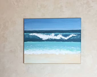 Wave, original acrylic beach painting, 8x10 painting