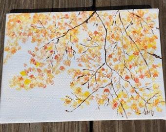 Yellow Leaves. 5x7 original acrylic painting
