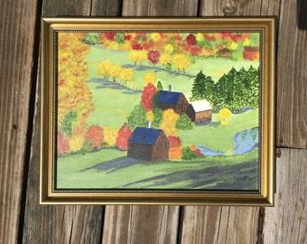 Fall Barns. Original acrylic 11x14 painting, landscape painting