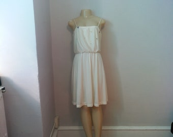 47d6e1a2add0b9 Vintage 1970s Cream-Colored JC Penney Fashions Disco Dress - Size 13/14
