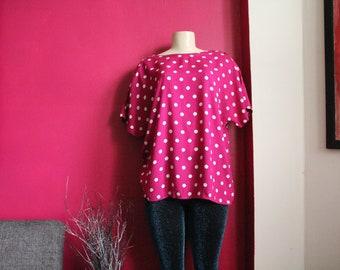 Free Shipping! Vintage Pink PolkaDot TopBlouse/Shirt