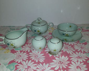 Mid Century Nobility 4 Crown Permaware Mist China - Cream, Sugar, Cup w/Saucer, Salt & Pepper