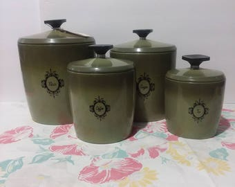 Vintage 1960's West Bend Avacado Canister Set 8pc