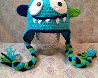 Crochet Monster Earflap Hat, kids earflap hat, monster hat, winter hat, halloween hat