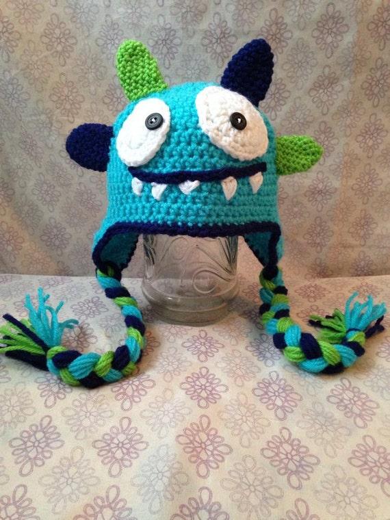 Crochet Monster Earflap Hat Kids Earflap Hat Monster Hat Etsy