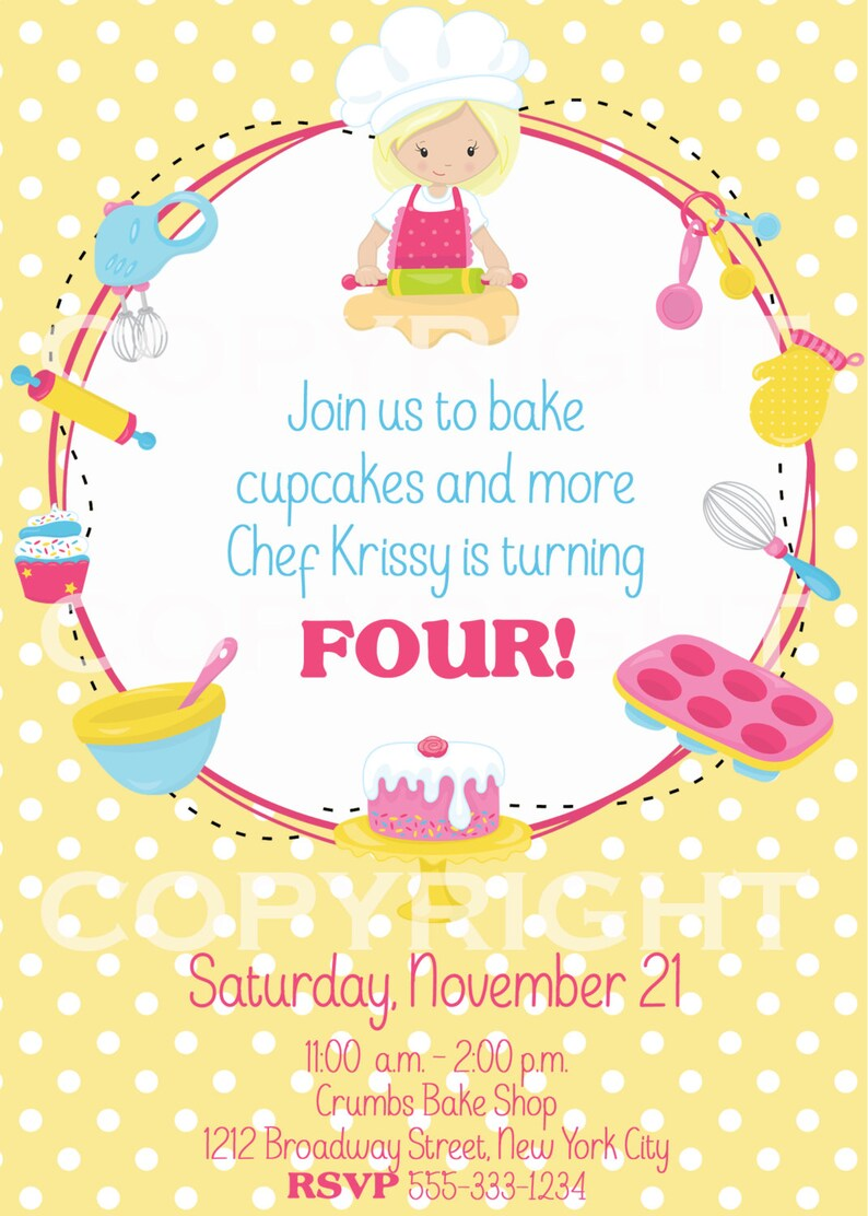 Baking Or Cupcake Birthday Party Invitation DIY Digital Printable PERSONALIZED For You