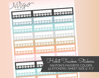 Habit Tracker Stickers- Weekly Tracker Circles - Planner Stickers - Choose Colors  - Choose Glossy, Matte HT