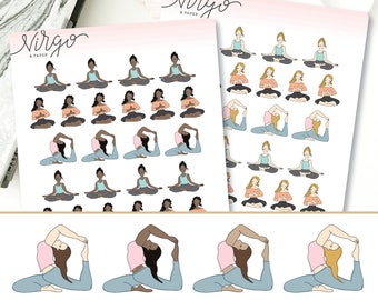 Yoga Girl Planner Stickers - Hand Drawn Yoga Pose Stickers, Choose your hair/skin color, Choose Glossy/Matte - Yoga Planner Stickers RYG