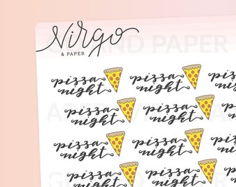 Pizza Night - Hand Drawn Pizza Stickers - Pizza Party, Pizza Doodles Planner Stickers - Choose Matte/Glossy RPN