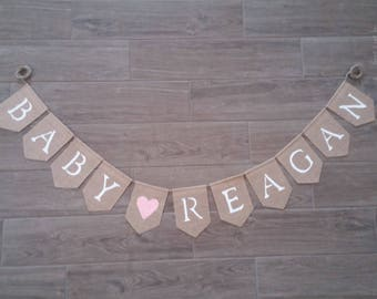 Personalized Baby Name Banner, Baby Shower Decor, Nursery Decor, Baby Name Sign, Burlap Baby Shower,  Burlap Baby Banner, Baby Shower Banner
