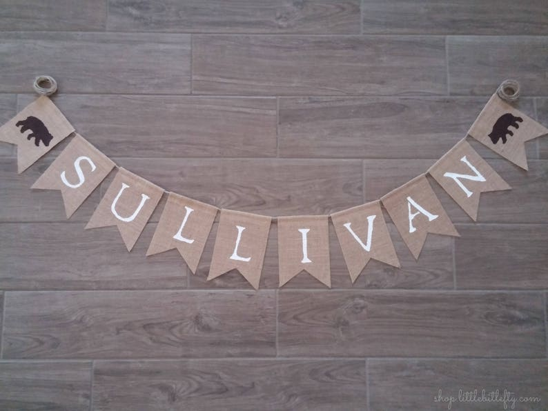 Burlap Banner Bunting Custom Personalized Name Banner Woodland First Birthday Woodland Nursery Woodland Banner Woodland Shower Decor