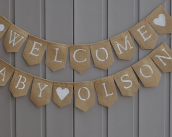 Gender Neutral Baby Shower Decor, Welcome Baby Banner, Burlap Baby Banner, Baby Shower Banner, Burlap Garland, Custom Personalized Bunting