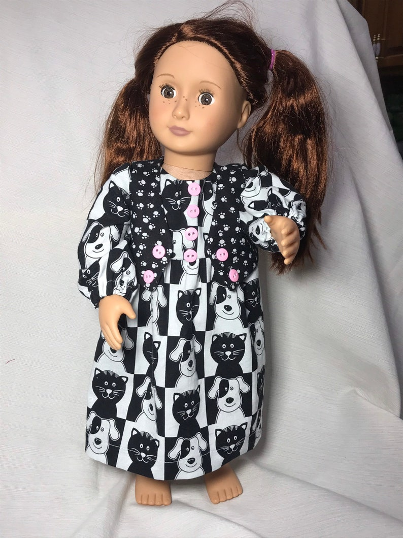 """Cute Kittens Dress for 18/"""" American Girl Doll Clothes"""