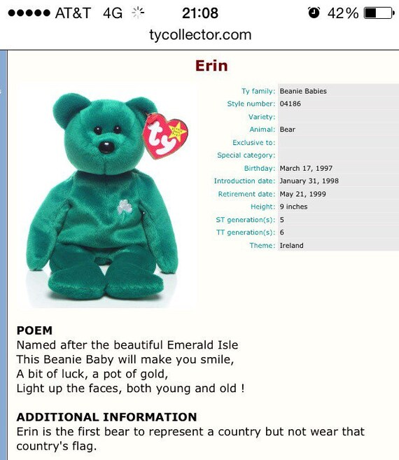 623a40764a5 Ty Beanie Baby Erin March 171997