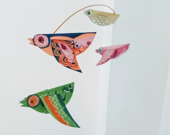 Colourful Paper Birds Mobile